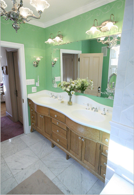 Bathroom with Quarter Sawn White Oak Vanity